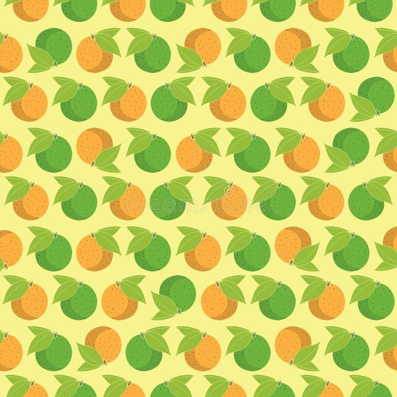 Bezszwowe deseniowe cytrus owoc na jasnożółtym tle ilustracja wektor