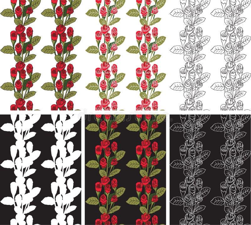 Bezszwowe deseniowe czerwone róże ilustracji