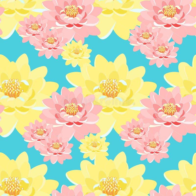 Bezszwowe deseniowe lotosowego kwiatu menchie, kolor żółty, makro- royalty ilustracja