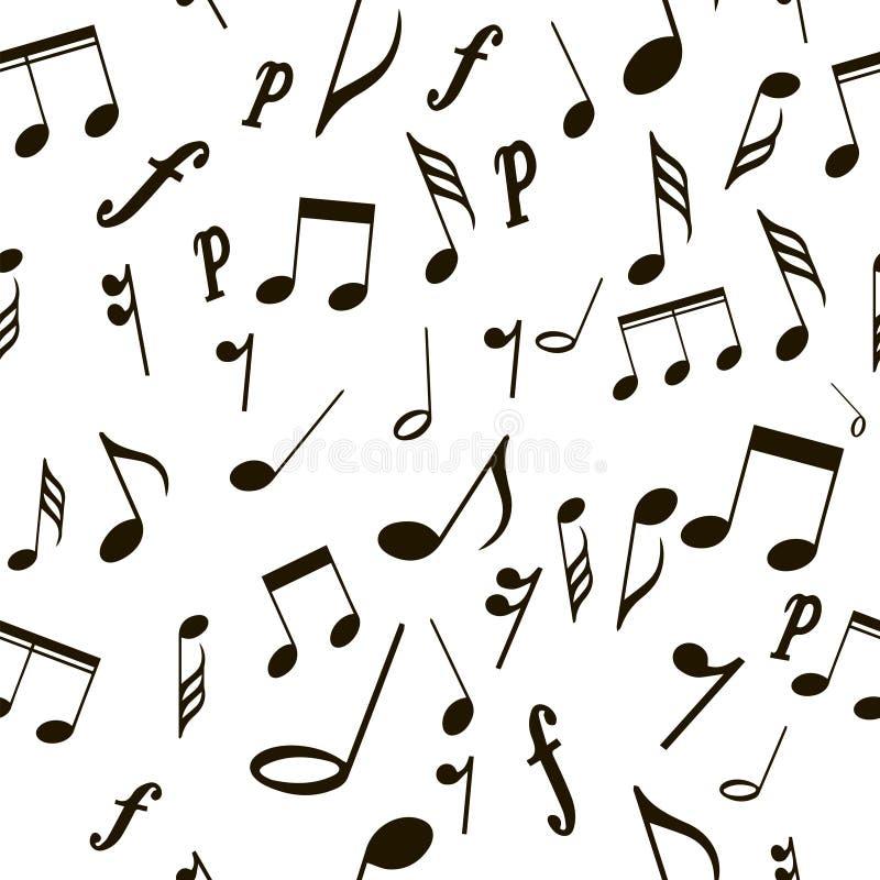 Bezszwowe deseniowe muzykalne notatki ilustracja wektor