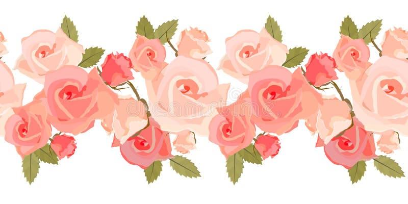 bezszwowe deseniowe różowe róże ilustracji