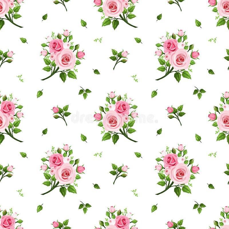 bezszwowe deseniowe różowe róże również zwrócić corel ilustracji wektora royalty ilustracja
