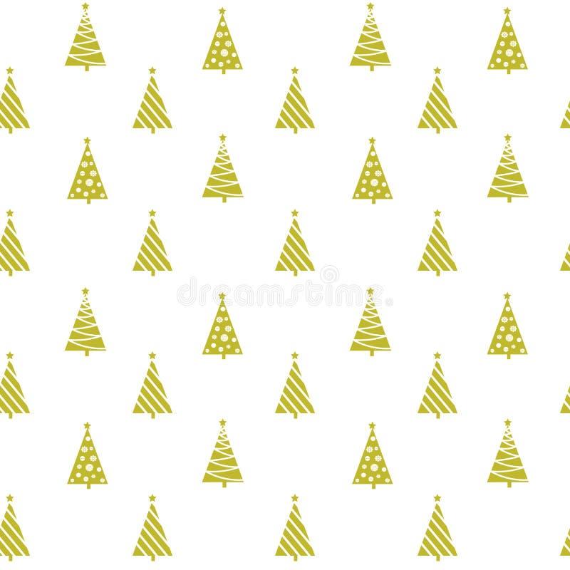 Bezszwowe deseniowe złote geometryczne choinek sylwetki royalty ilustracja