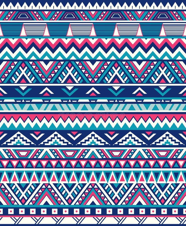 Bezszwowe etniczne deseniowe tekstury Abstrakcjonistycznego Navajo geometryczny druk Menchie i błękitów kolory fotografia royalty free