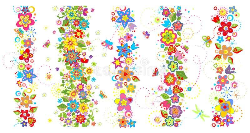 Bezszwowe granicy z śmiesznymi kolorowymi kwiatami royalty ilustracja