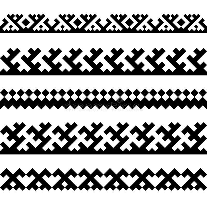 Bezszwowe granicy z etnicznymi ornamentami północni narody ilustracji