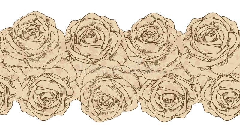 Bezszwowe horyzontalne element ramy i stare róże brudzą w punktach. rocznika styl ilustracja wektor