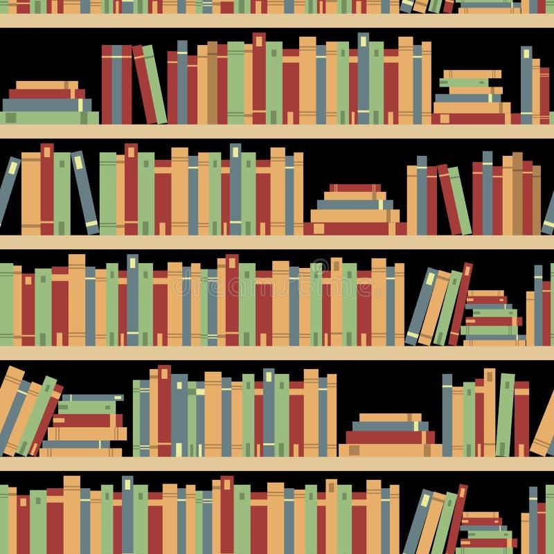 Bezszwowe książki, bezszwowy wzór z książkami, biblioteczny półka na książki, biblioteka, bookstore, książki na półki w bibliotec royalty ilustracja