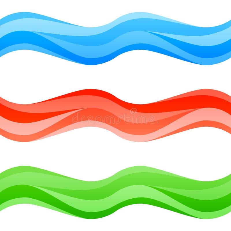 Bezszwowe multicolor fala ustawiać royalty ilustracja