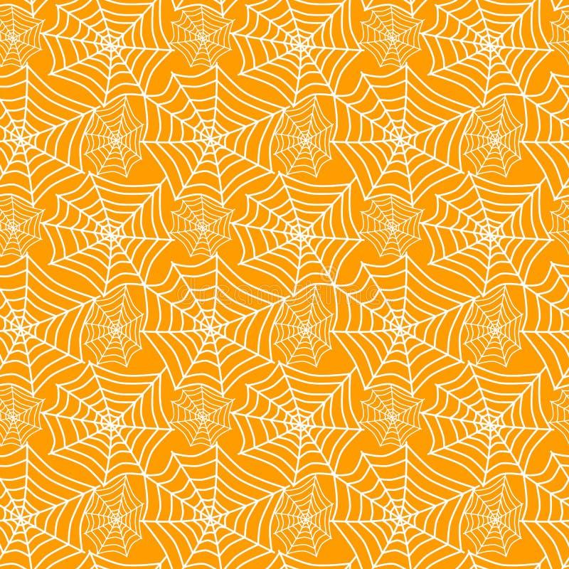 Bezszwowe pajęczyny na pomarańczowym tle ilustracja wektor