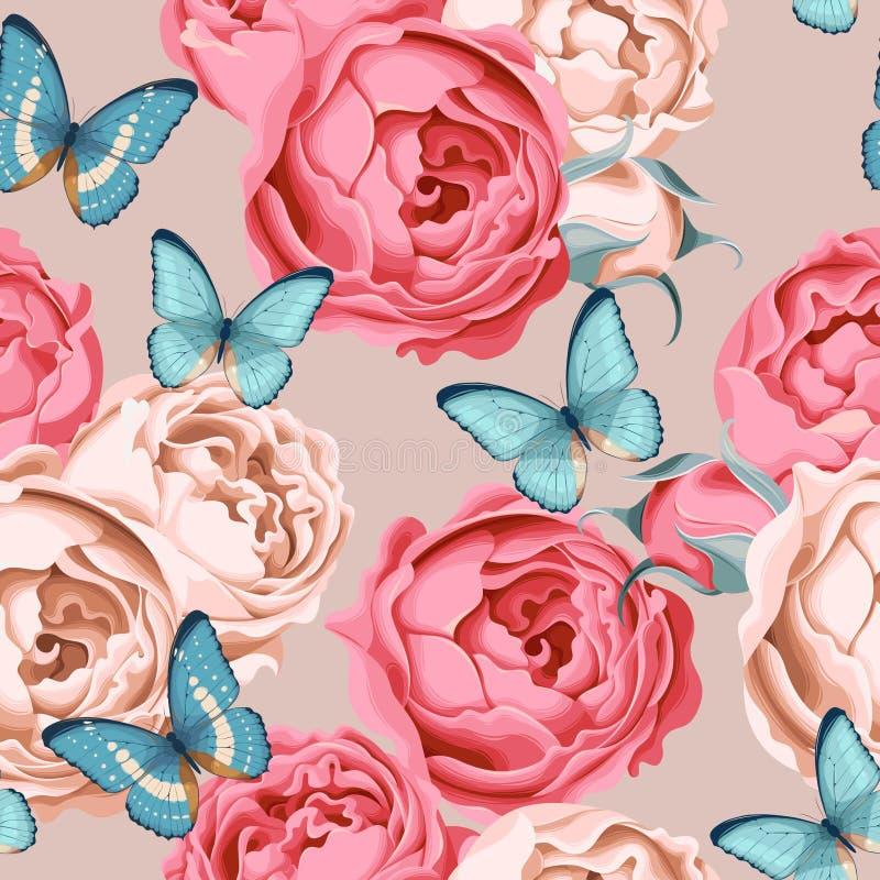 Bezszwowe peoni róże, motyl i royalty ilustracja