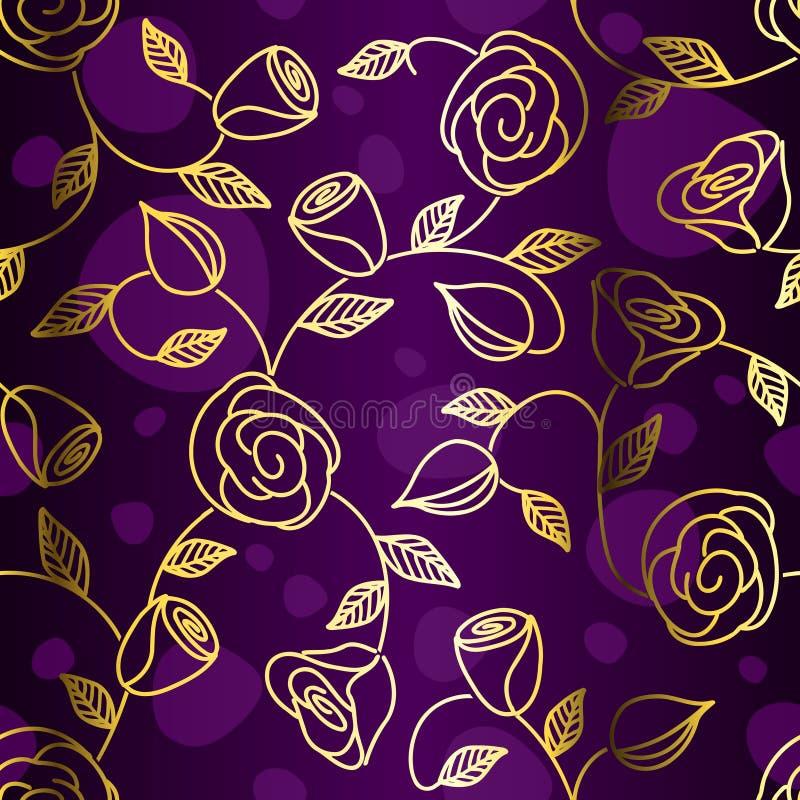 bezszwowe ręk patroszone złociste róże ilustracja wektor