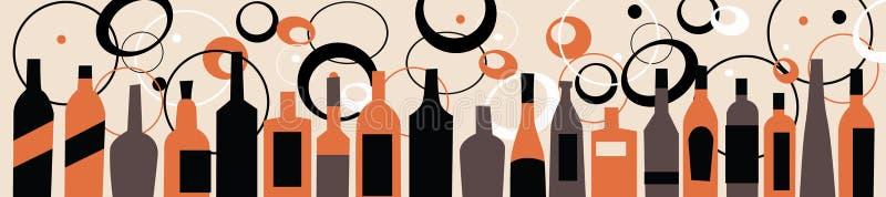 Bezszwowe tło trunku i jedzenia butelki ilustracji