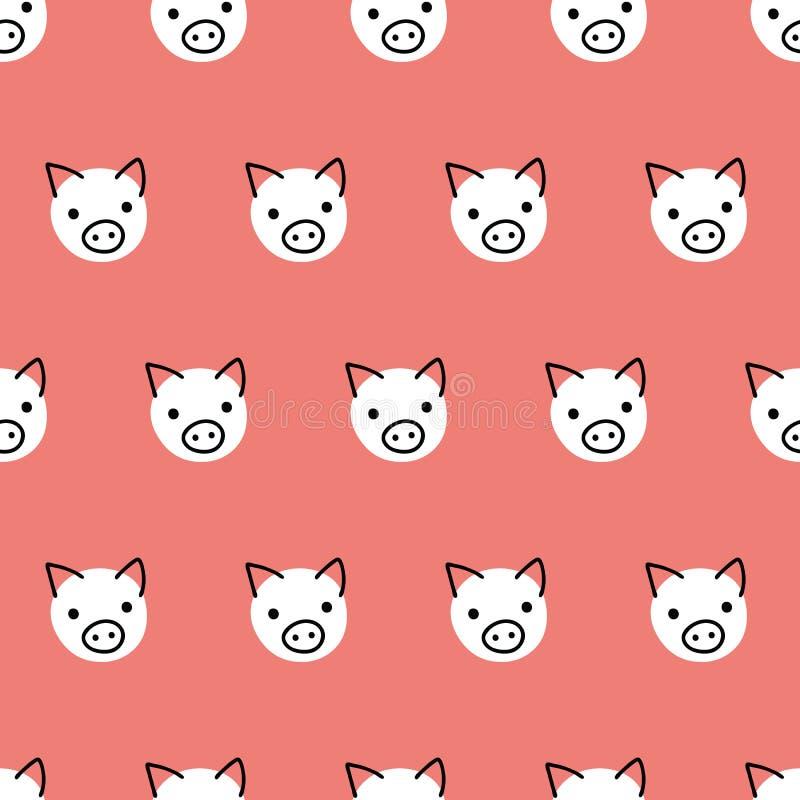 Bezszwowe wektoru wzoru powtórki świnie Śliczna polki kropki świnia stawia czoło tło biel na koralowej czerwieni Geometryczny dzi ilustracji