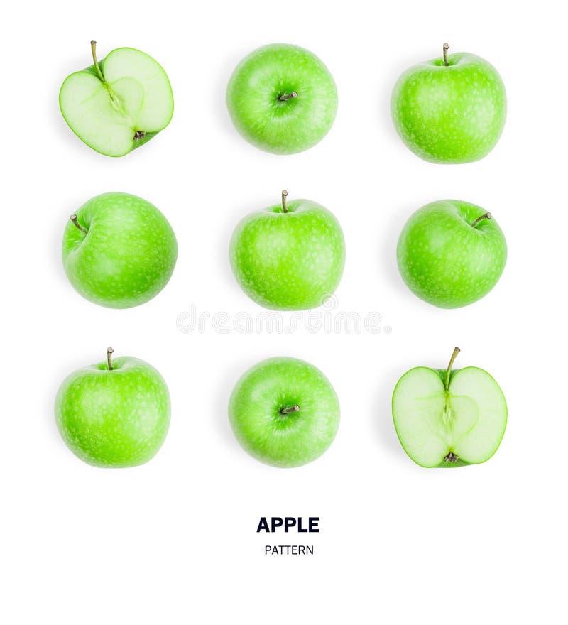 Bezszwowe wzór zieleni jabłka owoc Odizolowywający na bielu zdjęcia royalty free
