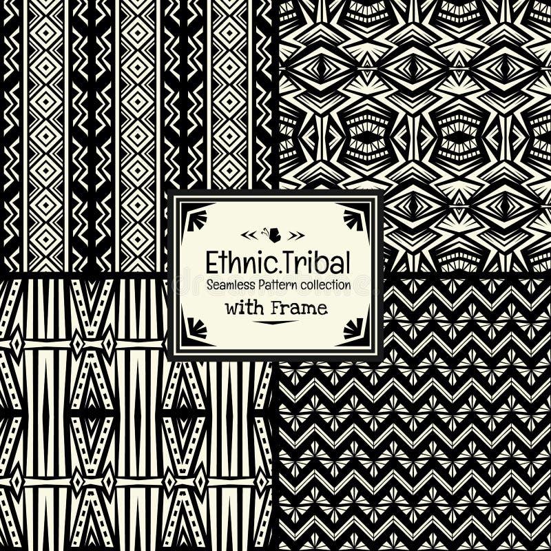 Bezszwowego abstrakta wzoru plemienna etniczna stylowa kolekcja z ramą ilustracja wektor