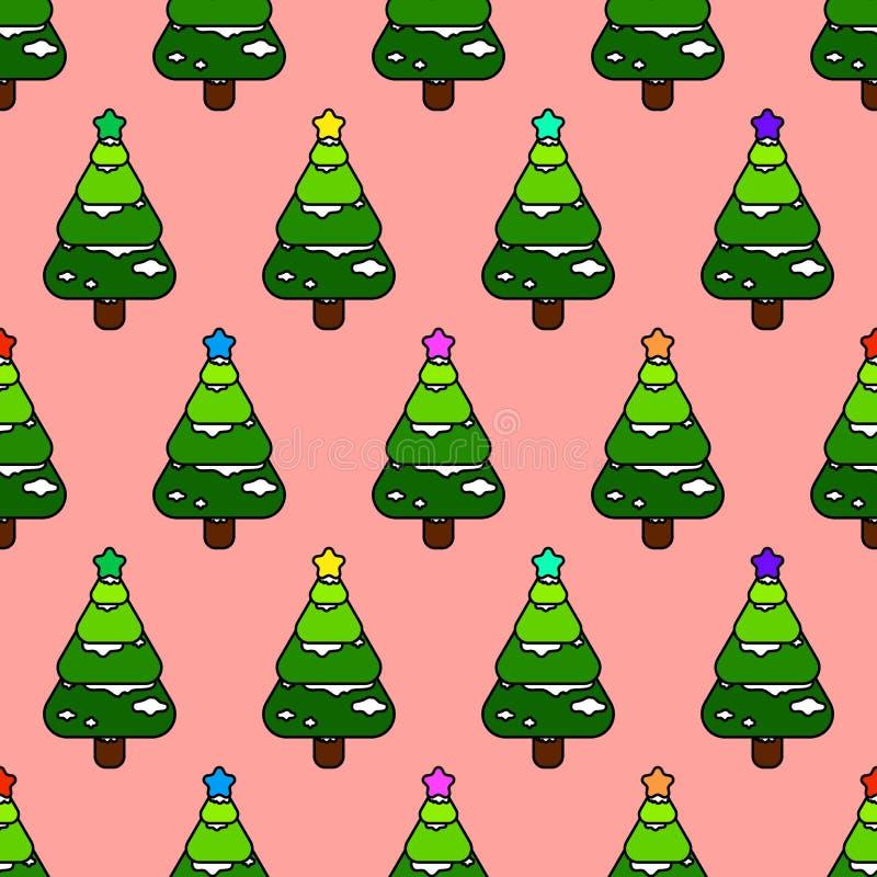 Bezszwowego bożego narodzenia deseniowego wektorowego tła abstrakcjonistycznej sztuki doodle stylu kolorowe sosny z śniegu i gwia ilustracja wektor