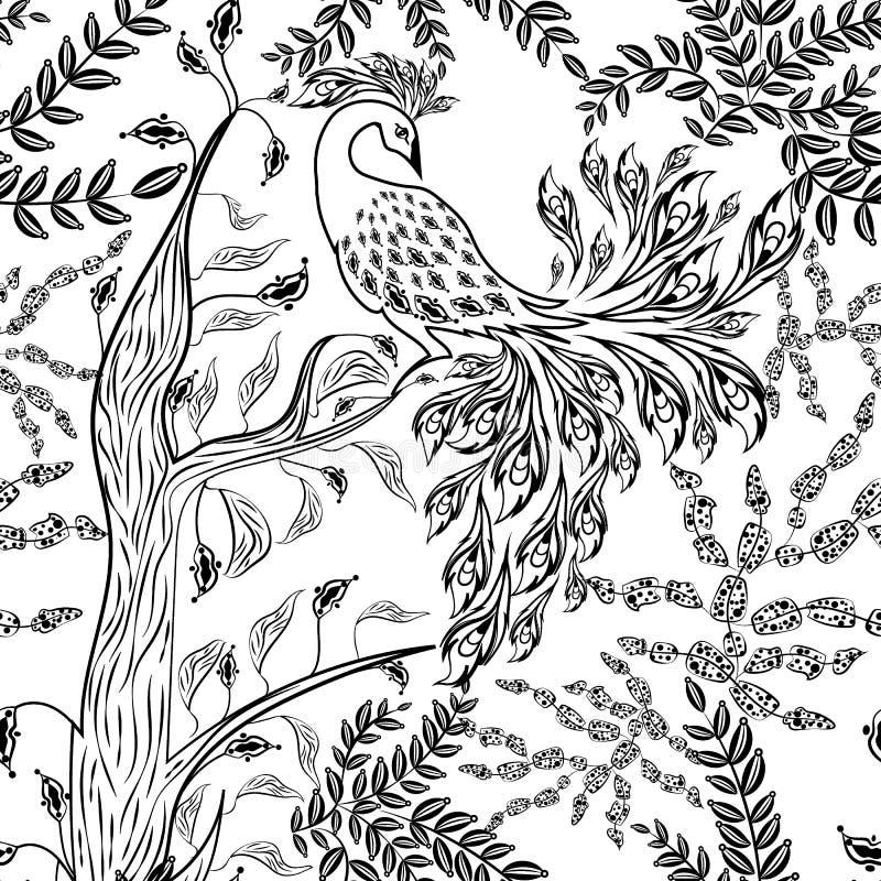 Bezszwowego czarodziejskiego fantazja ogródu lasowy ptak kreślił wzór ilustracji