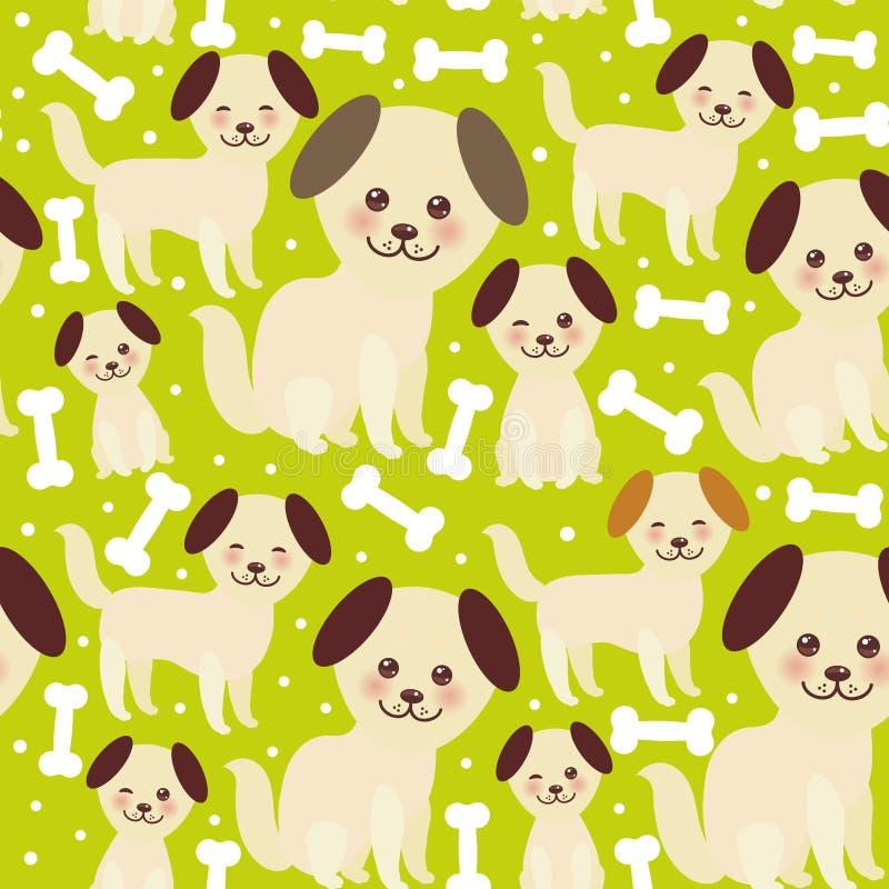 Bezszwowego deseniowego śmiesznego złotego beżu psie i białe kości, Kawaii stawiają czoło z wielkimi oczami, różowymi policzki, b ilustracja wektor