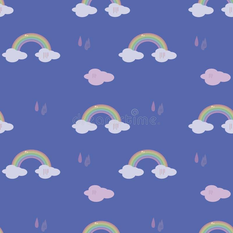 Bezszwowego deseniowego błękitnego kolorowego kolorowego tęczy pogody postaci kropel podeszczowych chmur nieba prezenta opakowani royalty ilustracja