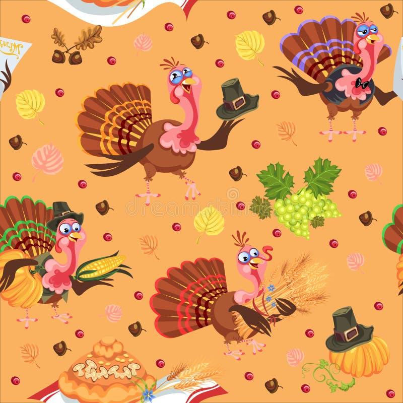 Bezszwowego deseniowego kreskówki dziękczynienia indyczy charakter w kapeluszu z żniwem, liście, acorns, kukurudza, jesień wakacj ilustracja wektor