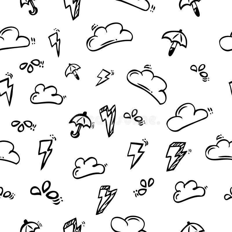 Bezszwowego deseniowego tła konturu ręki Prosty remis Skecth, chmura, burza, wody kropla i parasol, royalty ilustracja