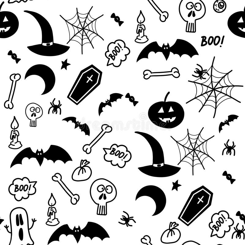 Bezszwowego doodle Halloween ilustracyjny tło z nietoperzami, księżyc, gwiazda, okrzyki niezadowolenia, pająk, sieć, kość ilustracja wektor
