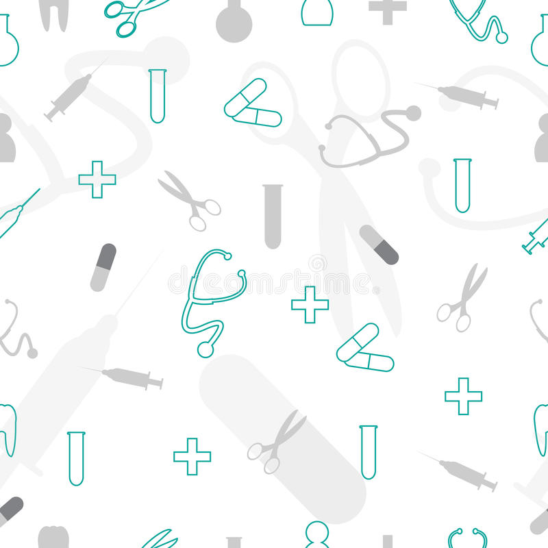 Bezszwowego doodle Medyczny wzór ilustracji