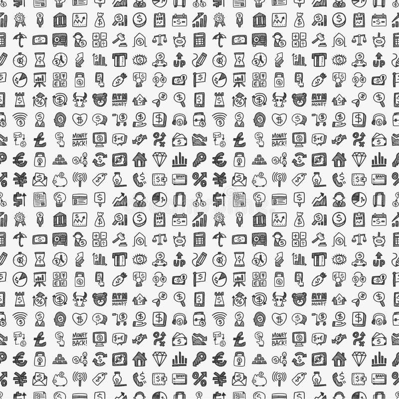 Bezszwowego doodle pieniężny wzór royalty ilustracja
