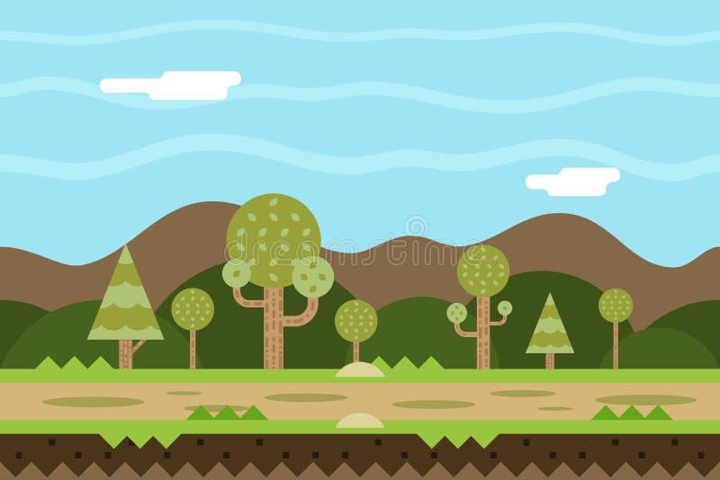 Bezszwowego Drogowego natury pojęcia projekta Płaski krajobraz ilustracji