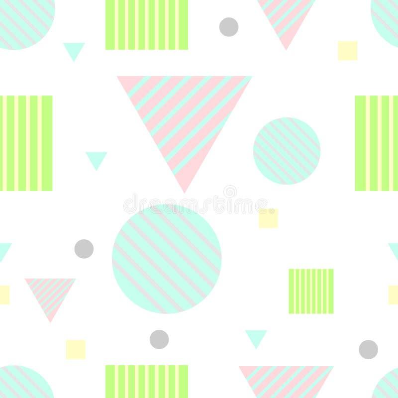 Bezszwowego geometrycznego abstrakta wzoru wektorowy kolorowy pastelowy projekt z trójbokami obciosuje ilustracji