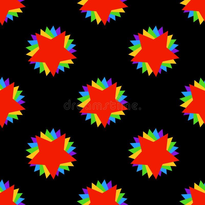 Bezszwowego geometrycznego deseniowego wektorowego tło kolorowego rocznika retro sztuka z gwiazdami i trójbok błękitnej zieleni c royalty ilustracja