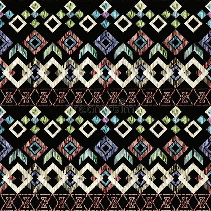 bezszwowego ikat etniczny wzór Abstrakcjonistyczny tło dla tekstylnego projekta, tapeta, nawierzchniowe tekstury ilustracja wektor