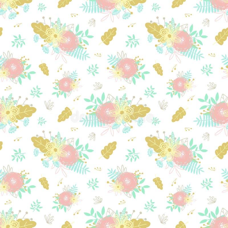Bezszwowego kreskówka wzoru pociągany ręcznie kwieciści elementy, bukiety, kwiaty i liście, Ilustracja dla wystroju odziewa, rzec ilustracja wektor