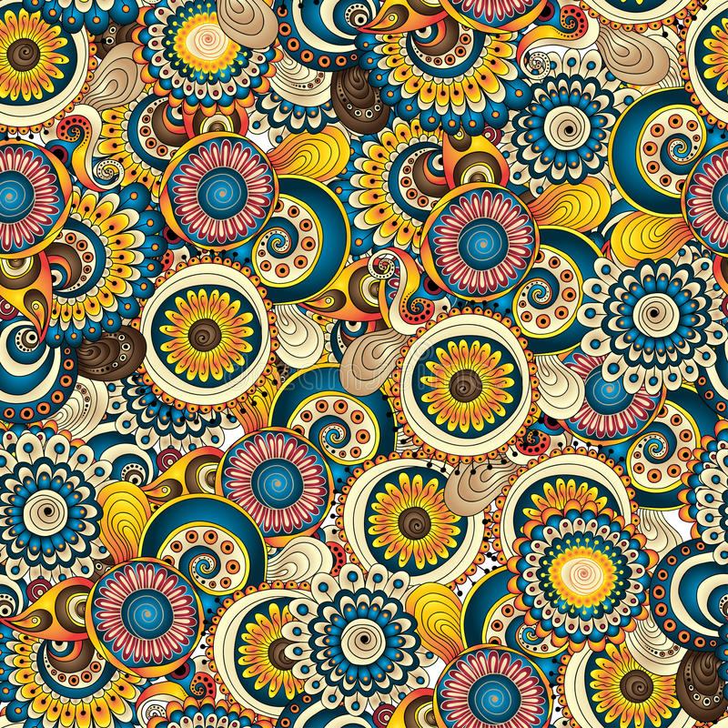 Bezszwowego kwiatu tła retro wzór w wektorze royalty ilustracja