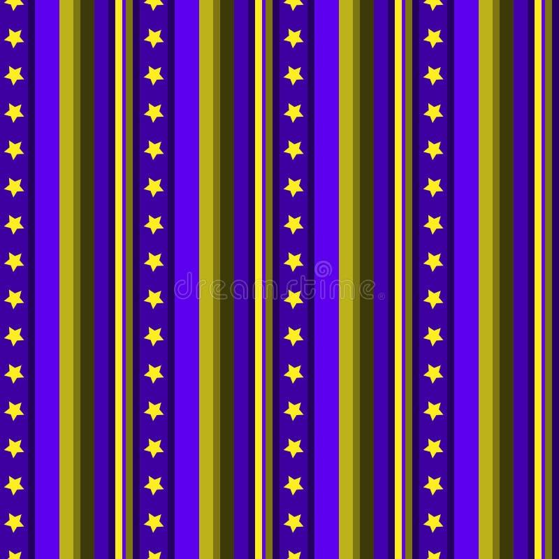 Bezszwowego pasiastego deseniowego wektorowego tła kolorowy projekt z gwiazdami i pionowo linii błękitnego żółtego rocznika retro ilustracja wektor