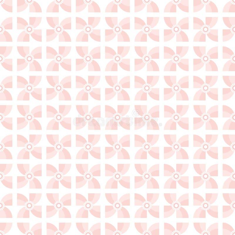 Bezszwowego pastelowego tła geometryczni pinwheels żyje koralowego biel royalty ilustracja