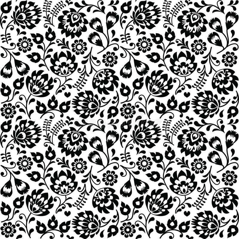 Bezszwowego Polskiego ludowej sztuki czerni kwiecisty wzór - wzory lowickie, wycinanka ilustracji