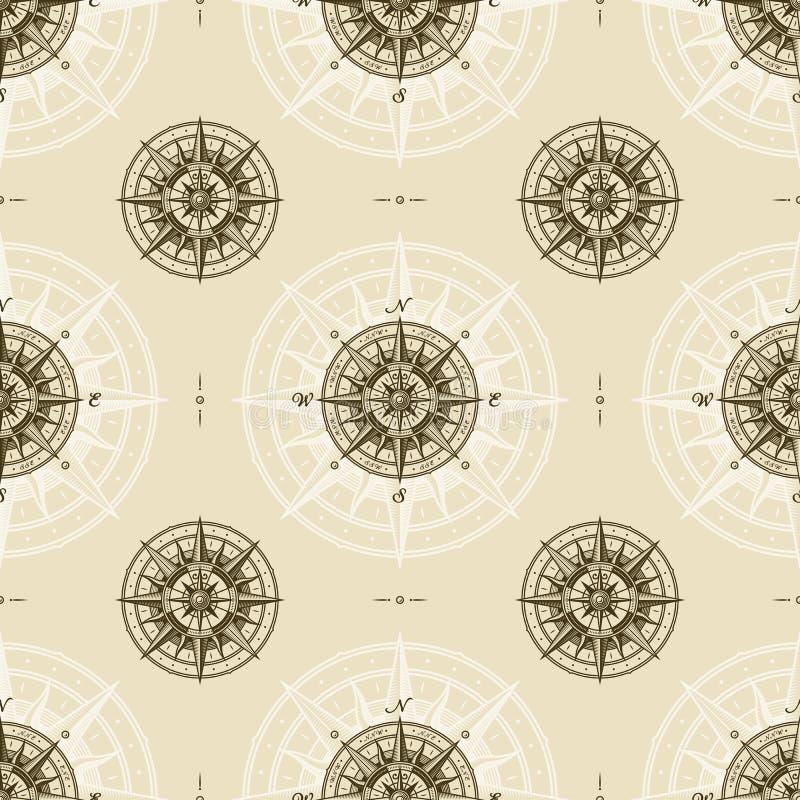 Bezszwowego rocznika kompasu róży nautyczny wzór ilustracji
