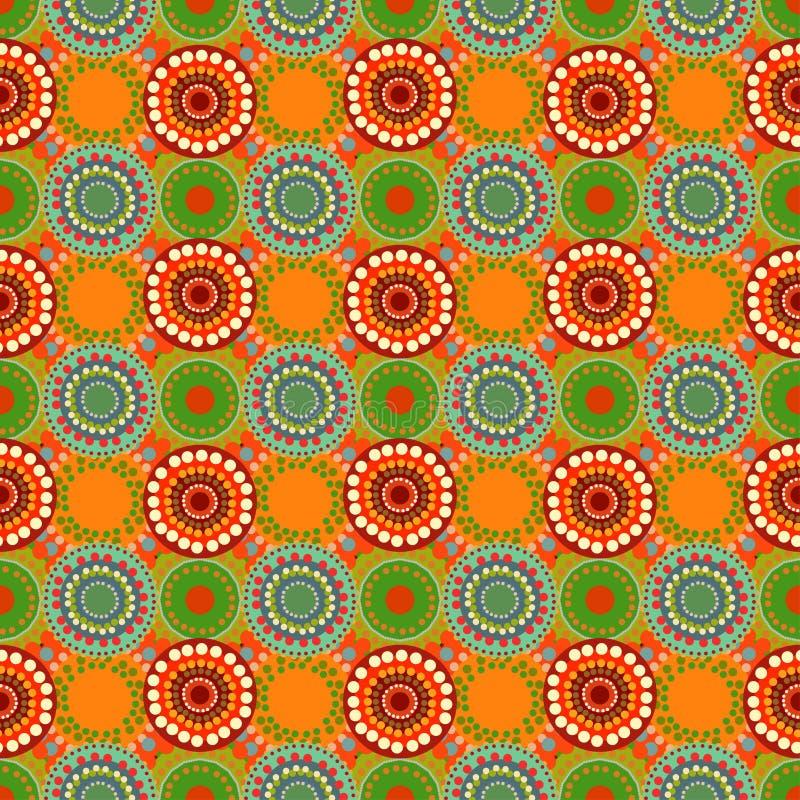 Bezszwowego rocznika retro deseniowa pomarańczowa tkanina ilustracja wektor
