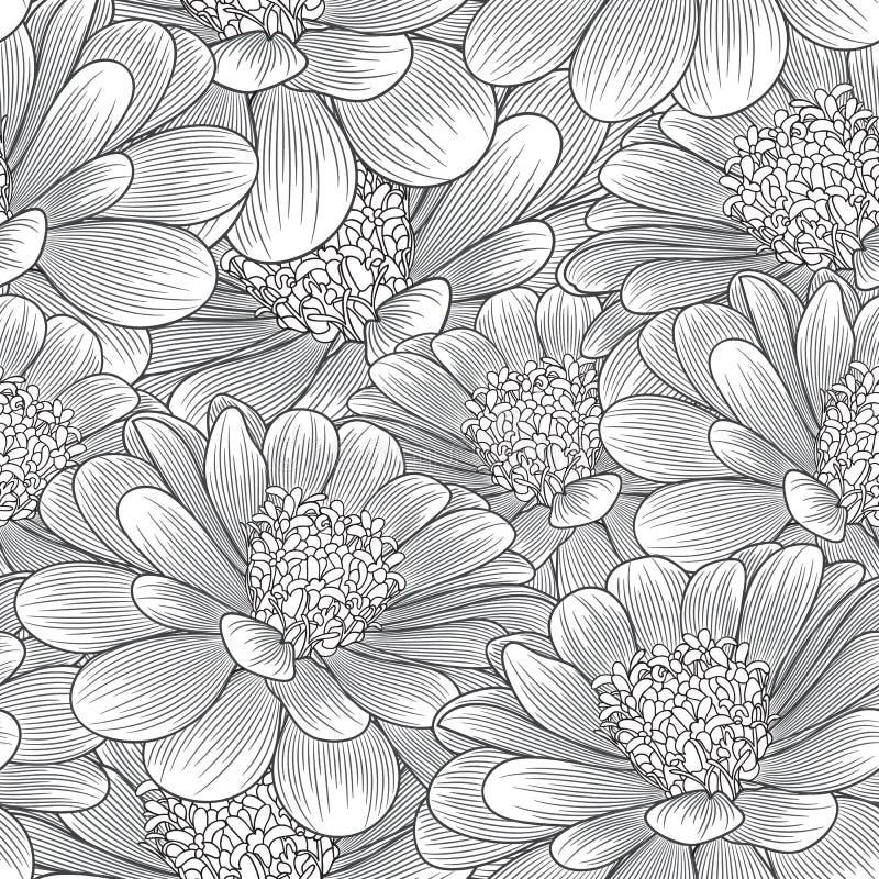 Bezszwowego rysunku kwiecisty tło z kwiatu chamomile również zwrócić corel ilustracji wektora ilustracji
