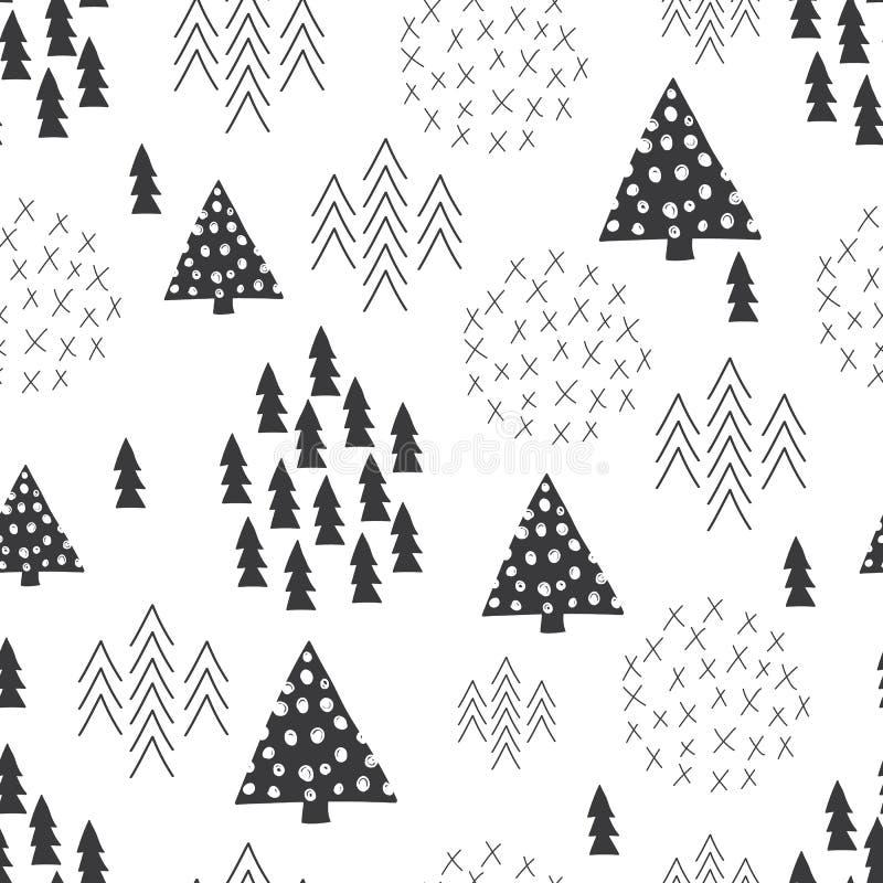 Bezszwowego scandinavian stylu choinki prosty ilustracyjny tło ilustracji