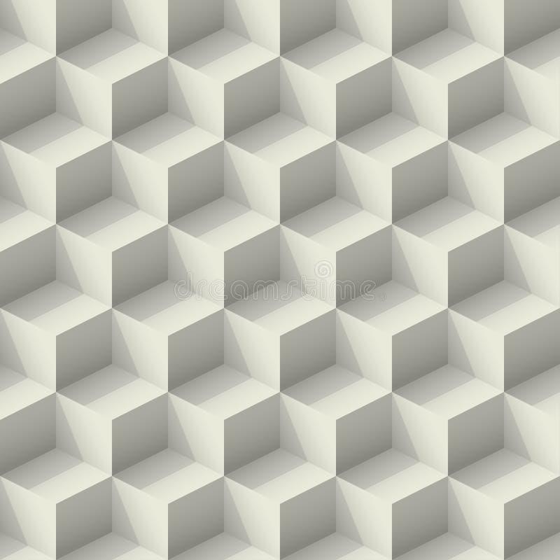 Bezszwowego szarego abstrakta wzoru isometric sześciany z światłem i cieniem Rocznika 3d kształta retro realistyczna minimaln royalty ilustracja