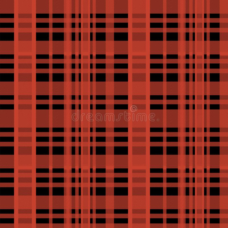 Bezszwowego tartanu lumberjack szkocki wzór z czerwieni i czerni kolorami ilustracji