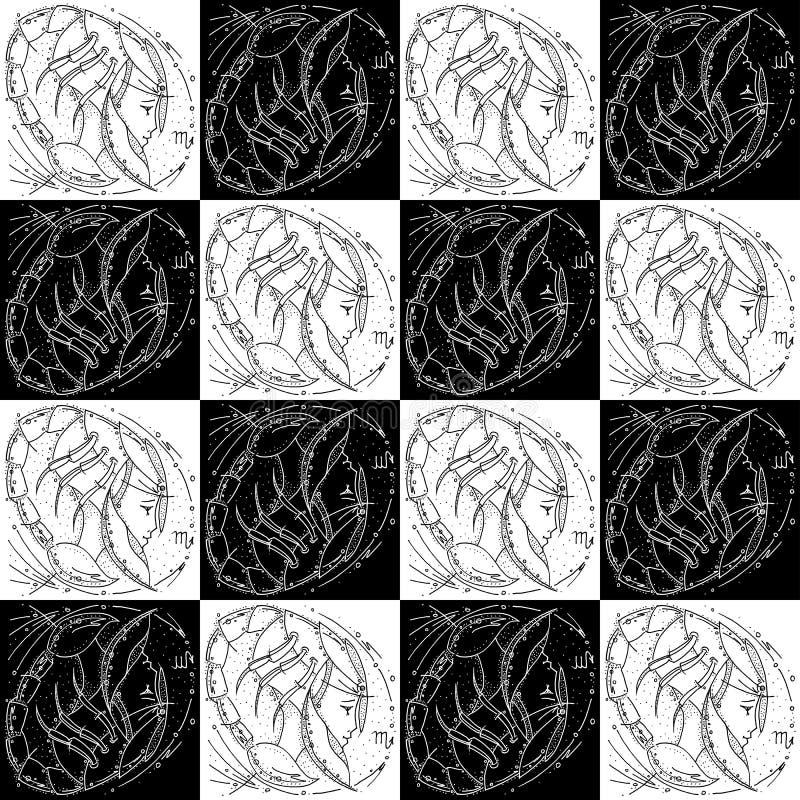 Bezszwowego tekstura zodiaka znaka Scorpio rysunku profilu czarny i biały dziewczyna w astronautycznym hełmie w formie skorpionu royalty ilustracja