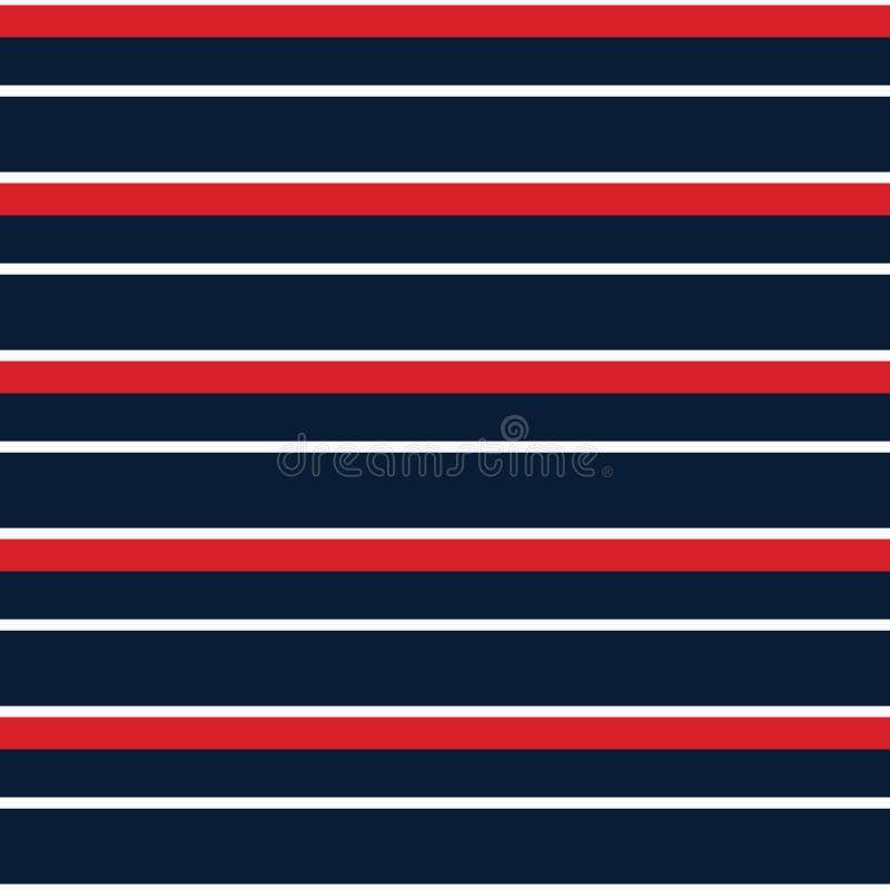 Bezszwowego wektorowego lampasa nautyczny wzór z barwioną horyzontalną paralelą paskuje czerwień, marynarki wojennej i białego tł ilustracja wektor