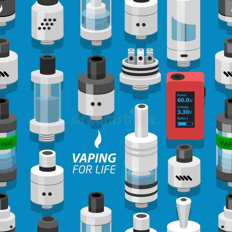 Bezszwowego wektorowego tła atomizatoru vaping elektroniczny papieros ilustracji