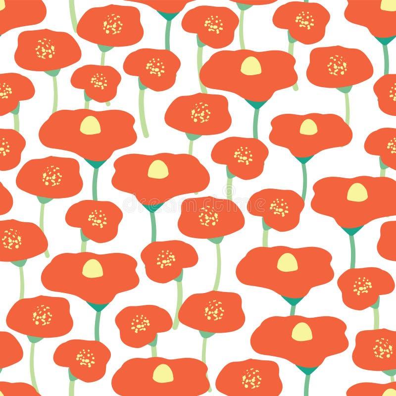 Bezszwowego wektorowego tła kwiatu makowy pole Czerwoni maczki łąkowi na białym tle retro kwiecisty tła Ręka rysujący rocznik ilustracji
