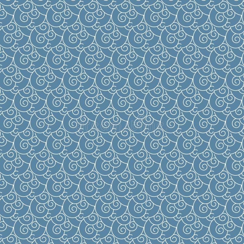 Bezszwowego wektorowego zawijasa biały i błękitny falowy japończyka wzór royalty ilustracja