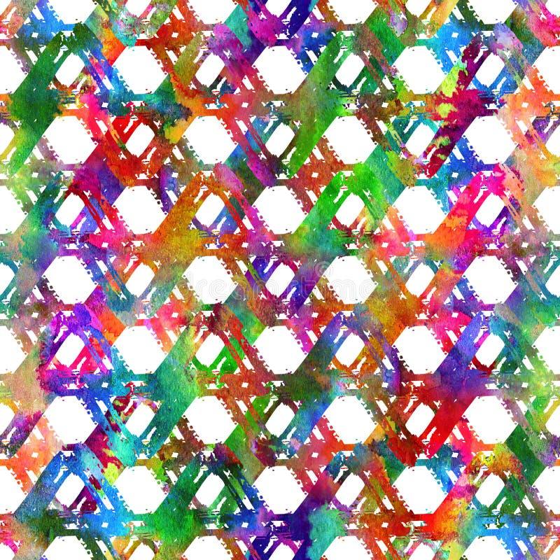 Bezszwowego wzoru muśnięcia kolorowy trójbok Tęcza kolor na białym tle Ręka malująca folwarczek tekstura Atrament geometryczny zdjęcie stock